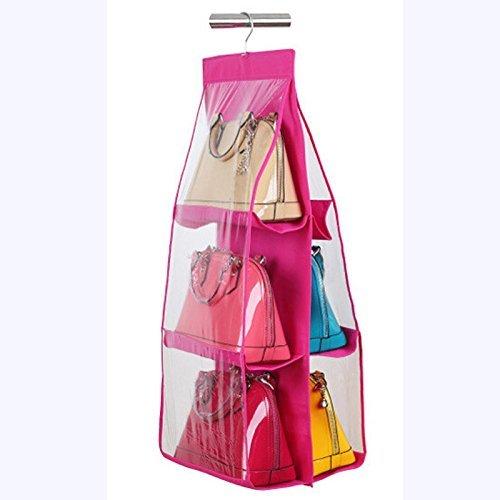Kuber Industries™ 6 Pocket Large Clear Purse Handbag Hanging Storage Organizer Closet...