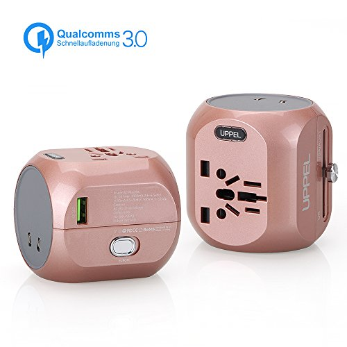 Sankoo Reiseadapter QC3.0 Schnellladung, Travel Adapter, Internationales Ladegerät, All-in-One-Steckdose-Adapter für USA, AU, Asien, EU, UK und über 150 Ländern (White) (Redgold)