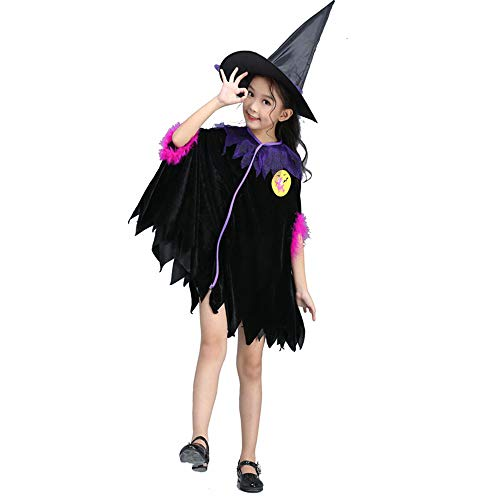 QINGQING Kinder Baby Mädchen Hexe Dress up Halloween Kinder Durchführung Kleidung Kostüm Kleid Party Kleider + Hexenhut + Besen Kinder Mädchen Halloween Kleidung Kostüm (Size : 160(14-15years))