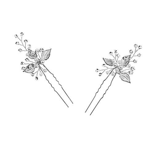 2pcs Pique de Cheveux Décorative de Fleur Incrusté de Strass et Faux Perles pour Mariée Demoiselle D'honneur - Argent