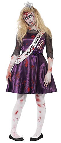Teen Prom Kostüm Zombie - Smiffys 44218XS - Zombie Prom Queen Kostüm mit Kleid Latex Rib Einfügen von 3D-Filz Crown und Sash