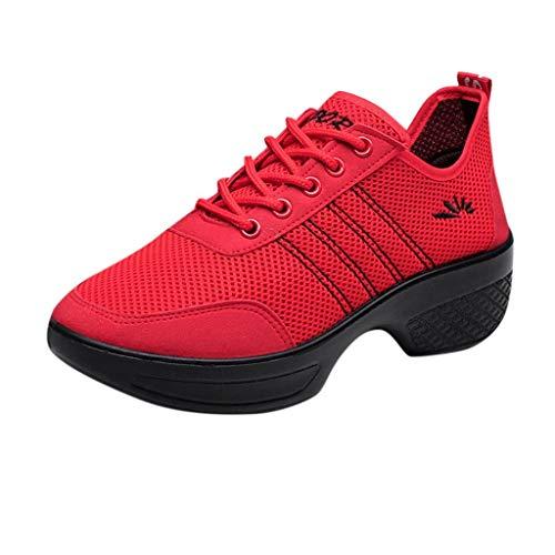 BaZhaHei Scarpe da Ballo Sneakers Donna,Respirabile Zeppe Scarpe Sportivo Donne Leggere Mesh Scarpe da Corsa Casual Scarpe da Lavoro Running Fitness Shoes con Sportive All'aperto 35-41