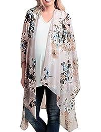 31e1ac3b25 Rovinci_Women's Chiffon Bikini Swimwear Floral Print Kimono Cardigan Blouse  Top Beach Ladies Beachwear Cover Ups Long