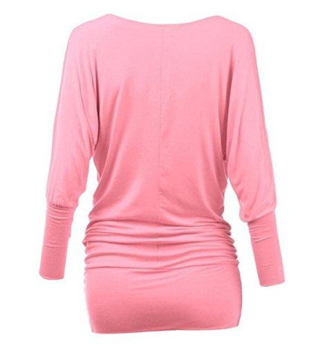 Damen Langarmshirts Oberteil Bluse V-Ausschnitt Slim T-shirt Rosa