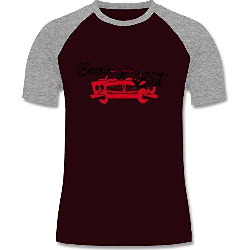 Statement Shirts - Benzin im Blut - Auto - zweifarbiges Baseballshirt für Männer Burgundrot/Grau meliert