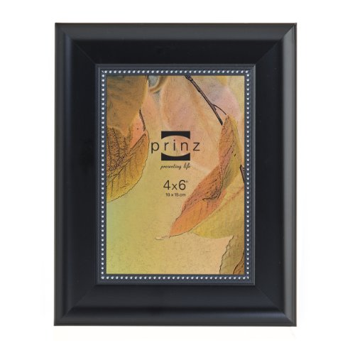 prinz-perlina-frame-4-by-6-inch-black-finish-with-silver-beaded-border