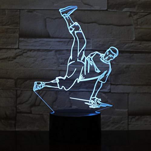 Joplc Street Dance LED USB 3D Nachtlichter LED 3D Lampe Deko Licht Hip-Hop Kultur