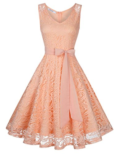 KoJooin Damen Kleid Brautjungfernkleid Knielang Spitzenkleid Ärmellos Cocktailkleid Rosa Rose Gold...