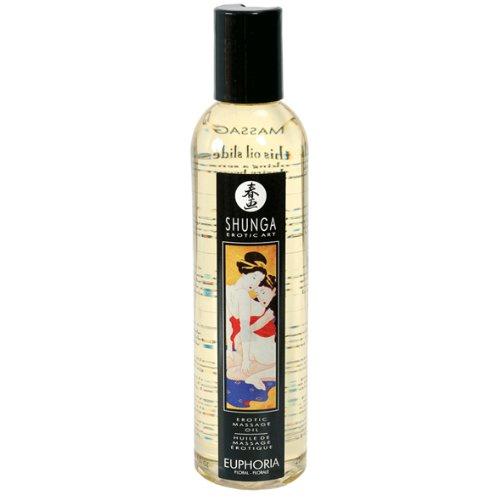 Shunga Aceite Masaje Euphoria, Aroma Floral, Color Amarillo Translúcido - 250 ml