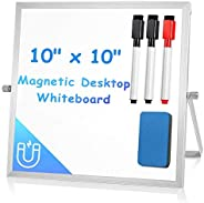 """Small Dry Erase White Board for Desk 10"""" X 10"""", Magnetic Portable Double-Sided Easel Board Personal"""