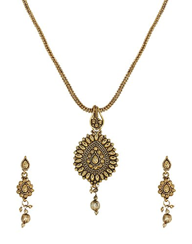 Zaveri Pearls Gold Filigree Traditional Pendant Set - ZPFK5625  available at amazon for Rs.304