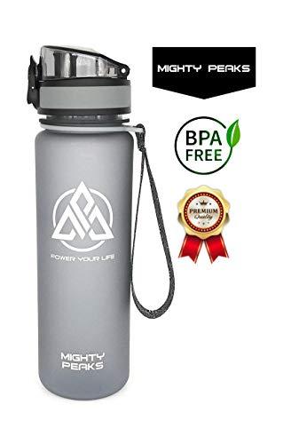 Tritan Trinkflasche-Sport BPA frei Trinkflasche 500ml Plastikflasche 0,5l Wasser-Flasche 500ml Schule Fitness Fahrrad Camping Yoga Pilates 0,5l grau Karaffe Glas-Trinkflasche Kinder auslaufsicher