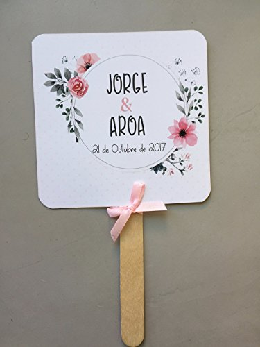 Pai Pai para bodas, abanico con flores rosas