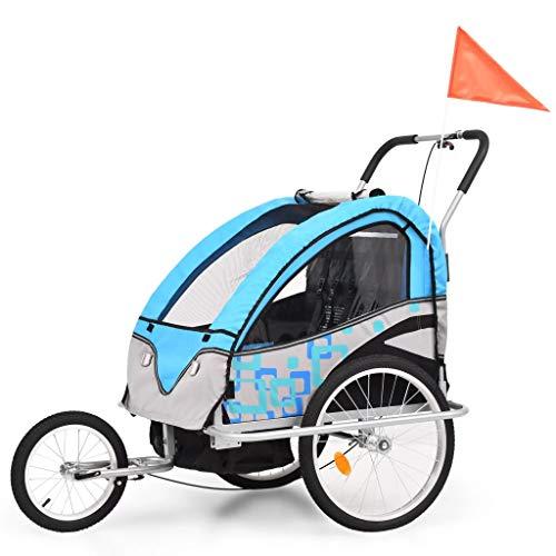 Festnight- Kinder Fahrradanhänger & Kinderwagen 2-in-1 Faltbar Oxford Gewebe Stahlrahmen Blau und Grau