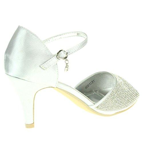 Frau Damen Fesselriemen High Heel Abendliche Feier Braut Hochzeit Prom Sandals Schuhe Größe Silber