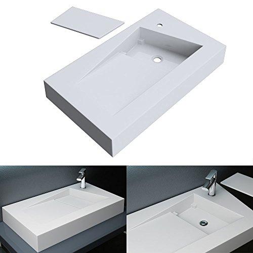 BTH: 80x46x12 cm Design Aufsatzwaschbecken Hängewaschbecken Colossum17, in weiß, aus Gussmarmor