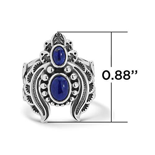 Statement-Ring Sterling-Silber 925 5 bis 10 Edelsteine Halbmond und Federn verfügbar in 3 Farben