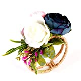 Zedo Muñequera de Flores,Pulsera del Flor Muñeca,Broches para Novias,Pulsera Novia,para Boda, Fiesta, Novia,Dama de Honor, Hecha a Man,1 pcs (Azul) Niña Mori