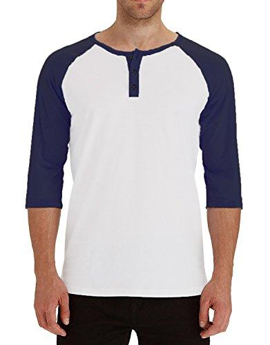 AIYINO Herren Langarmshirt Bekleidung T-Shirt M Navy