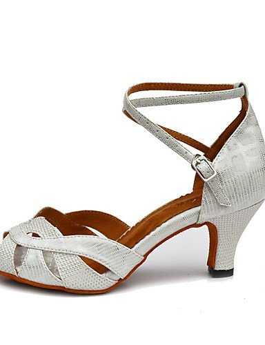ShangYi Chaussures de danse(Noir / Blanc / Or) -Non Personnalisables-Talon Bobine-Similicuir-Salsa White