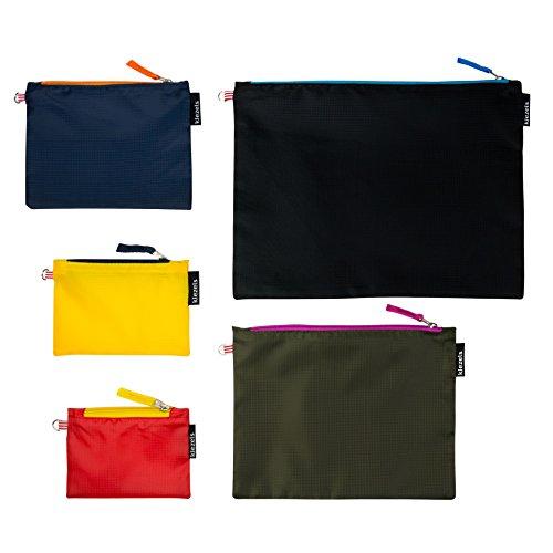 kiezels - Set leichte Reißverschlusstaschen, organizertaschen – 5 taschen in verschiedene Größen - 5 colours