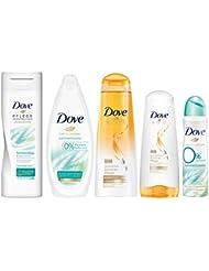 Dove Limited Edition Sommerpflege-Set mit Body Lotion (250ml), Pflegedusche (250ml), Deospray ohne Aluminium (150ml), Shampoo (250ml) und Spülung (200ml) (5 Produkte)