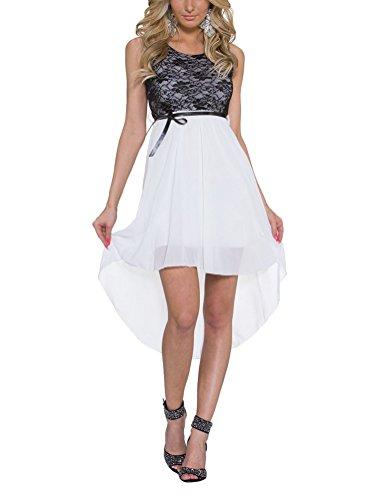 Brinny Femmes Mini Jupe Robe de Soirée Sans-Manche Robe élégantes en Mousseline de soie Blanc