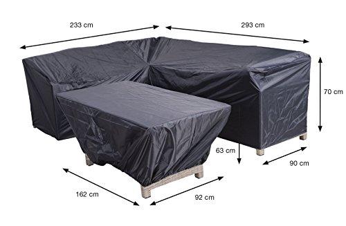 Reißfeste Schutzhülle für Lounge Möbel, in praktischer Tragetasche, 2-teilig, 293/233x90 x H70...