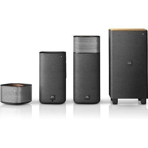 Philips Fidelio E5 (CSS7235Y/12) - Sistema Surround para cine en casa inalámbrico (Bluetooth, NFC, Subwoofer), negro y