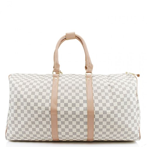 LeahWard® Damen Herren Reisetasche Modedesigner Handtaschen Hand Luggue für Ferienschule 41412 (H35cm x W61cm x D23cm Weiß) (Gucci-tasche Weiße)