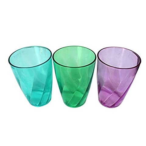 9pc Plastic Crystal Style Cup Tumbler Set by Belle Vous - Assorted Colours - Textured Reusable Cups - For Party, Wedding, Camping, Beach and Picnic Use - Top Shelf Dishwasher Safe