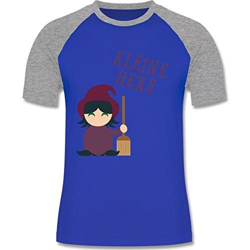 Halloween Kleine Hexe süß zweifarbiges Baseballshirt für Männer Royalblau/Grau  meliert