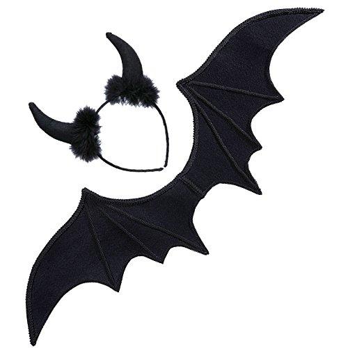 Widmann - Kostümset Schwarzer - Schwarze Flügel Kostüm Zubehör