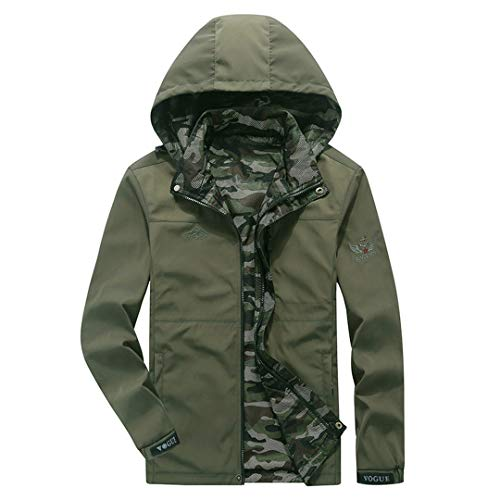 Box Quilted Coat (Karmder Frühling Herren Casual CamouflQuick-Dry Jacke Large Size Army Coat Herbst Militärjacken Khaki Mäntel Army Green L)