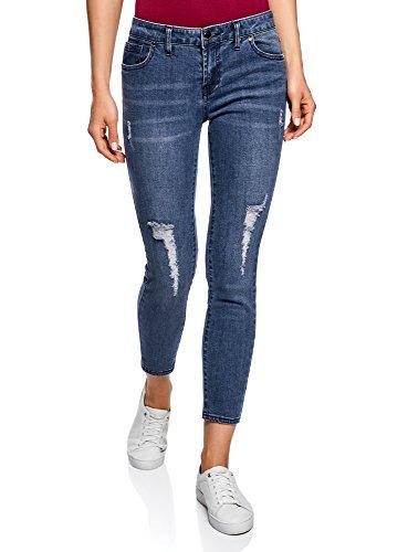 Oodji ultra donna jeans cropped strappati, blu, 30w / 30l (it 48 / eu 44 / xl)