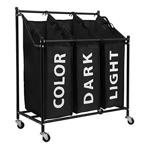 Wäschekorb Wäschesortierer, LEMAIJIAJU Wäschebox Wäschewagen mit 3 Robusten Abnehmbaren Wäschebeuteln, 4 Metallrollen, Metallgestell, Schwarz