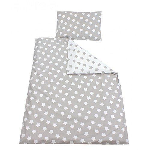 TupTam Kinder Bettwäsche Set Wendebettwäsche 100x135 2 tlg, Farbe: Große Sterne Grau/Weiß, Größe: 135x100 cm
