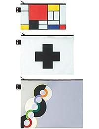 LOQI Museum Museum Mondrian Zip Pockets Funda de carné, 32 cm, (Multicolour)