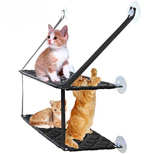 Cat Bed, Cat Window Persico Sedile Ventose Salvaspazio Cat Amaca Pet Sedile Di Sicurezza Ripiani Cat - Fornitura Di Tutto Intorno 360 ° Sunbath Per Gatti, Doppio Strato Portante Fino A 33 Libbre ,1