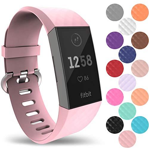 Yousave Accessories® Cinturino Fitbit Charge3, Cinturino di Ricambio in Silicone Fitbit Charge 3, Cinturino Sportivo da Polso per Il Fitbit Charge 3 - Piccolo - Rosa Fard