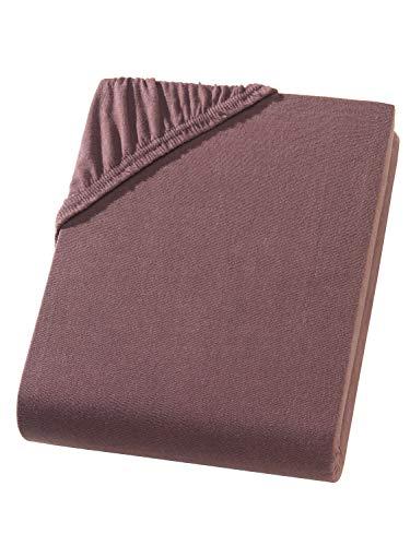 Hometex Premium Textiles Exclusive Spannbettlaken Spannbetttuch bis 25 cm Steghöhe | Bettlaken 100% Baumwolle | 160 g/m² | ÖKO-TEX Standard |(180-200x200 cm | Steghöhe bis zu 25 cm, Schokobraun) (Topper Matratze Bio)