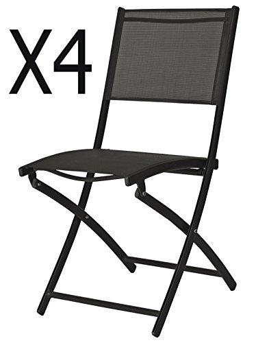 PEGANE Lot de 4 chaises de Jardin Pliante en texaline Coloris Blanc Mat - Dim : 41 x 46 x 80 cm