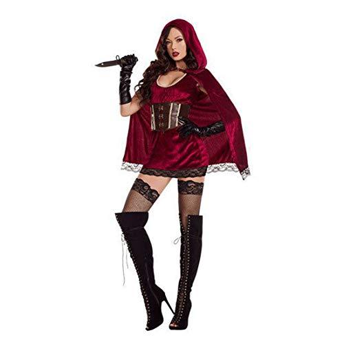 Kostüm Schlechte - HOOLAZA Frauen Rollenspiel Böse Schlecht Rotkäppchen Kostüm Sonder und Sexy Cosplay Kleid 4 Stücke