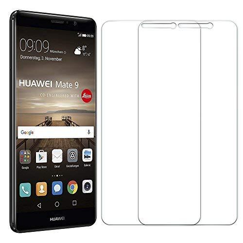 [2 Unidades] Protector de Pantalla Huawei Mate 9, Senisttech 0.33mm Ultra Transparencia HD, 3D Touch Compatibles, 9H Dureza Cristal Vidrio Templado Para Huawei Mate 9