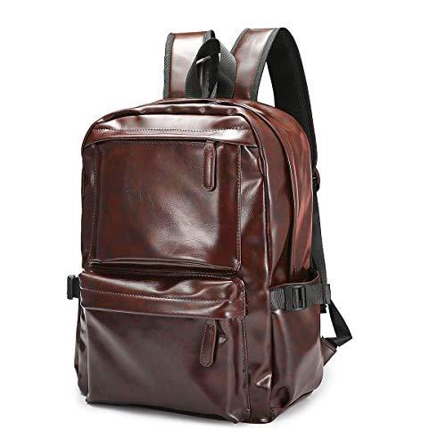 Zaino per Laptop da Viaggio, JOSEKO Zaino per Laptop Backpack in Pelle da Viaggio Zaino in pelle per Uomo e Donna Marrone