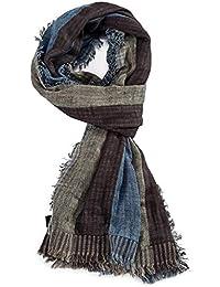 40b0f08dcab ROYALZ foulard écharpe homme automne hiver printemps léger doux motif rayée  carreaux effrangé multicolore