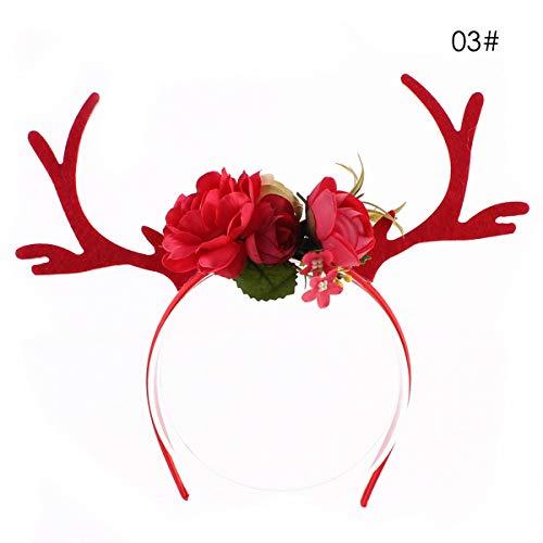 XingYue Direct Weihnachtselch Adul Kid Kinder Hirschgeweih niedliche Blume Headwear Haarband (Color : Red, Size : For adults and kids) (Cute Halloween Kränze)