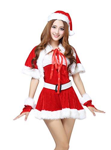 Baymate Weihnachtsmann Damen Cosplay Kostüm Sexy Weihnachtsoutfit Miss Santa Fancy Kleid Rot (Kleid+Hut+Gürtel+Handschuhe+Schal)