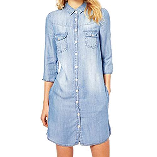 XZDCDJ Frauen-Denim-lose große Knopf-langes Frauen-Sieben-Hülsen-beiläufiges Kleid(Hell blau,XXL) (Mädchen 7-16 Kleider Frühjahr)
