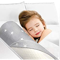 Barrière de lit Daisies en mousse pour bambins et enfants Pare-chocs de lit, garde-corps de sécurité avec housse antidérapante, imperméable et lavable armature de lit pour les tout-petits, les enfants